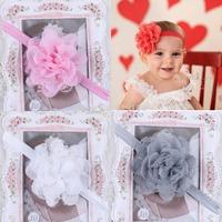 12 Colors Sweet children chiffon yarn lace flower headband baby girl's hair band headwear crown hair accessories 20pcs/lot