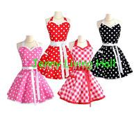 50s Style Sweetheart Style Cotton Apron Fashionable Polka Dot Apron Christmas Party Apron