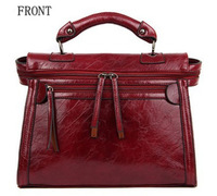 2013 New Autumn Women Leather Handbag Wax oil Retro women Messenger Bag Motorcycle Bag  Free Shipping