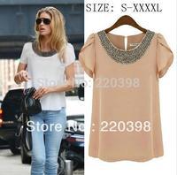 hot selling new  chiffon blouse cropped blusa neon women's clothing high street casual dress mint denim moda camisa  7size S-4XL