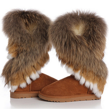 2013 winter warm high Длинный snow boots artificial fox rabbit Мех leather tassel ...