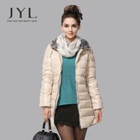 JYL 2014 Winter Curve hem slim outwear coats women winter,fashion design high quality 90% women duck down coat long with hood