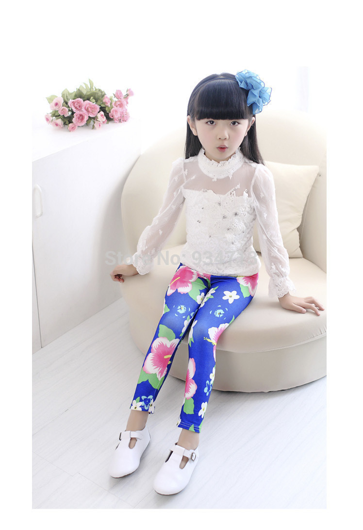 Free shipping Autumn Child trousers Child milk silk legging female Child legging Children pants legging colorful In the flowers(China (Mainland))