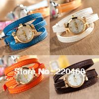 9 colors wholesale fashion  women dress watches, leather strap bracelet quartz watch gift A61