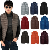 2014 Ultra Light Mens Winter Vest Duck Down Stand Collar Zipper Puff Gilet Sleeveless Vest Waistcoat Mens Vest XXXL 12 Color
