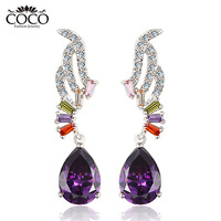 Luxury Cubic Zirconia  Purple Wing Drop Earrings Wholesale High Quality CZ Diamond Brand Jewelry E008