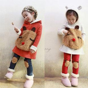 Free Shipping Children's clothing set girls cartoon panda fleece sweatshirt +legging set  hot-selling set for autumn - winter