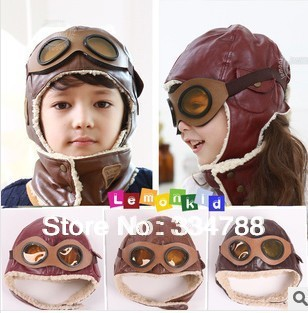New 2013 Winter Baby Pilot Caps with Safety Goggle Earflap Kids Children Accessories Baby Hats & Caps Girls Hat Russian Cap Hot(China (Mainland))