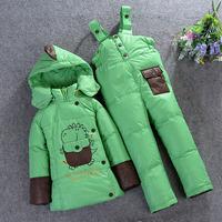 2014 Winter children down jacket parkas suit set coat+pants sets male female child girls boys clothing for kids GC063-1