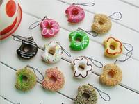 New Arrival 5cm Kawaii Mobile Phone Chain Squishies Bread Free Shipping Doughnut Keychain for Phone Rare Squishy Donut Bag Charm