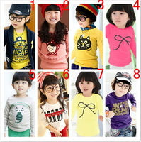 new 2013 free shipping New HOT Multicolor Children's T-shirt Baby boy girl's long sleeve T shirts Child Children's Clothing