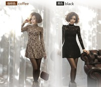 Dresses New Fashion 2013 Evening Dress,M L Long-Sleeved Dress,Black Lace Nightclub Brown Turtleneck Dress,Free Shipping
