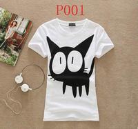 [Alice] new women t shirt 2014 summer cotton t-shirt short sleeve o neck cartoon printed tees 20models free shiping