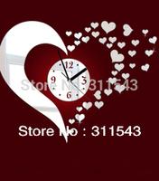 3D heart shaped mirror wall clock ,DIY art heart wall clock,large sofa background mirror surface watch M206 FREE SHIPPING