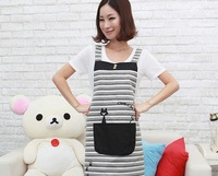 Korean Yarn dyed colorful stripe Embroidery black cat cute QQ cat apron household kitchen aprons lovely aprons big pocket