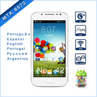 MTK6572 4.3 inch galaxy mini s4 Android 4.2 3G GPS Smart Phone Dual Core 1.2GHz WVGA Screen Dual Cameras - White
