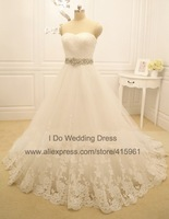 Simple but Elegant Design Sweetheart Appliqued Lace Princess Puffy Ball Gown Wedding Dresses