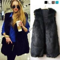 Hot Sale New Chic Lady Faux Fur Vest Warm Coat Outwear Long Hair Jacket Winter Waistcoat 18820