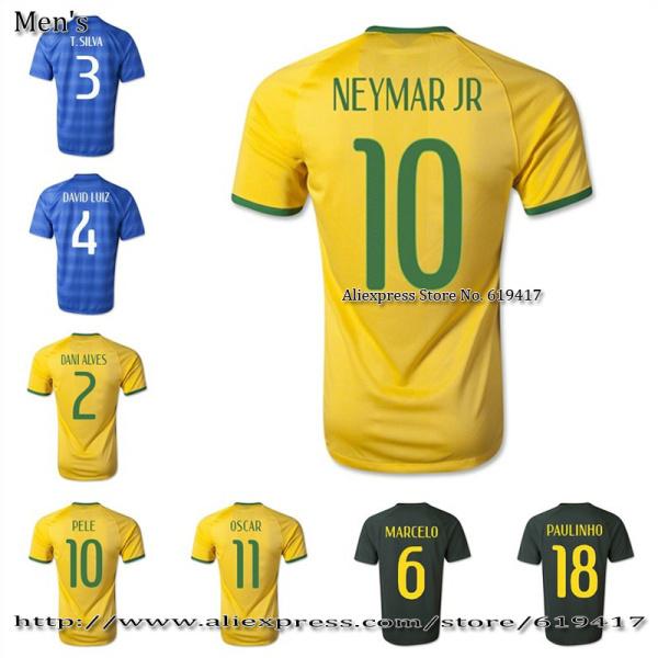 Customize 10 NEYMAR jersey soccer 2014 PELE T.SILVA shirts OSCAR soccer jerseys Thai Version High Quality A+++ free shipping(China (Mainland))