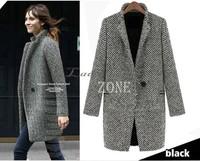 2014 New Arrival Fall/Winter Coat Women Black White Lapel Long Oversize Trench Coat Thick Warm Wool Jacket b11 19306