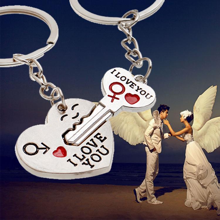 2014 New Couple I LOVE YOU Heart Keychain Ring Keyring Key Chain Lover Romantic Creative Birthday Gift New chaveiro(China (Mainland))