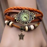 New 2014 Women Quartz Watch vintage Small Butterfly Weave Wrap Synthetic Leather Bracelet Wrist dress Watches 19256