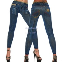 New 2014 Fashion Women's Denim Look Ripped Faux Jean Leggings Jeggings B16 SV001374