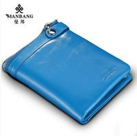Brand Male genuine leather wallet short design first layer of cowhide zipper card holder Black/Blue purse men MBQ9039BH