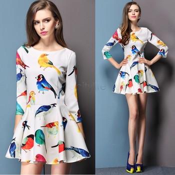 Замечательный новый горячая распродажа летнее платье свежий птица цветочный печать женская элегантный тонкий 3/4 рукав платье белого 34