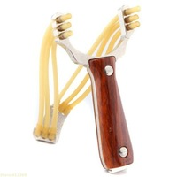 Wood Pattern Handle Hunting slingshot With slingshot rubber band sling shot For outdoor And Competetion Free shipping