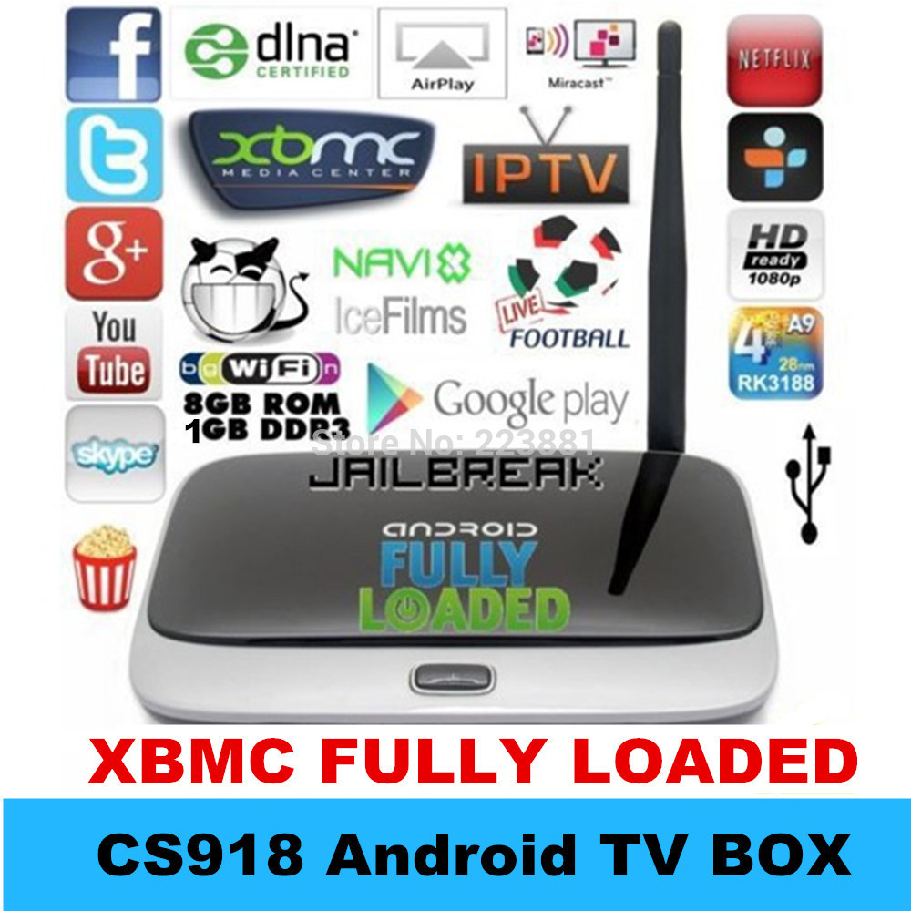 XBMC fully loaded Android TV Box MK888 1GB Ram 8GB Rom Quad Core RK3188 Cortex A9 MK888B Bluetooth Full HD Media Player CS918(China (Mainland))