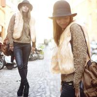 Promotion!! Winter Sleeveless Warm Coat Women Faux Fur Short Vest fox fur Coats Jacket Waistcoat Coat Noble Fur coat B6 SV5406