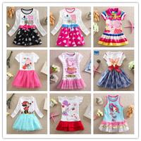 Frozen princess elsa anna baby girl long sleeve dress Peppa Pig Nova brand children cartoon kids clothes cotton