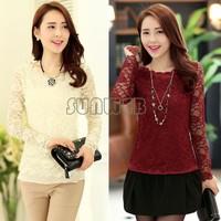 New 2014 Lace Blouses Shirt Women Long Sleeve Ladies Lace Blusas Women Tops Floral Sexy Blouse Plus Size SV05 SV006594