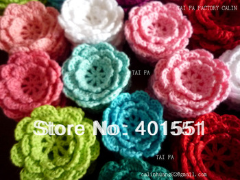 "100pcs/lot  2"" handmade crochet flower applique for cap hat headband clothe clip scrapbook sewing trims boutique craft accessory"
