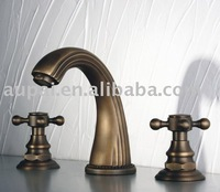 Free Shipping - Dual Handles  Minispread Antique Brass Faucet For Bathroom - Mix Order (F-5019)