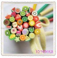 HOT! Free Shipping 100pcs-Mixed 5mm Fruit Cane Fancy Nail Art Polymer Clay Mixed Fruit Series