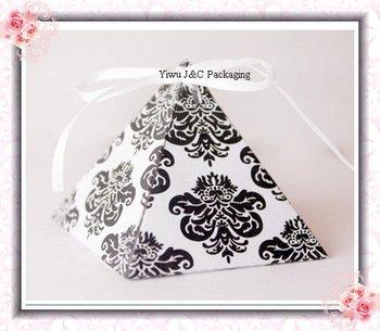 FREE SHIPPING--HOT Damask Pyramid Wedding Favor Box, Paper Gift Box, Sweet Candy Box(JCO-392C)