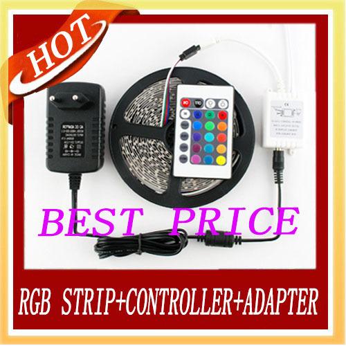 RGB Led Strip 3528 SMD 60LED/M 5M 300Led No-waterproof 12V 2A Power Supply Adapter 24Keys IR Remote Controller Free Shipping New(China (Mainland))
