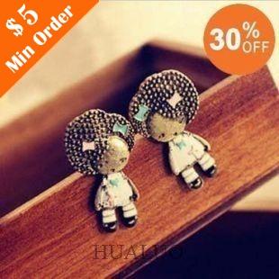 Fashion Fluffy Head Cute Little Girl With Shining Stone Earring E149(China (Mainland))