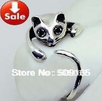 Promotion Price! 2014 Hot Sale Adjustable Cat Ring Animal Fashion Ring 10pcs Free Shipping