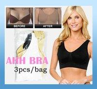 wholesale price Ahh Bra As on TV Rhonda Shear Ahh Seamless Leisure Bra Genie Bra 96%nylon 3pcs/set with original stamp in stock