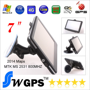 "Free shipping 7"" GPS Navigation, Free Newest Map, 4GB Flash, FM Transmitter, 500MHz, DDR128MB, WinCE 6.0"