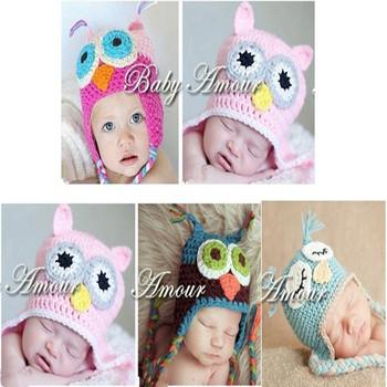 retail 100%Cotton Handmade Children Crochet Hats Various Animal Styles Baby Owl Beanie hat Kids Flower cap