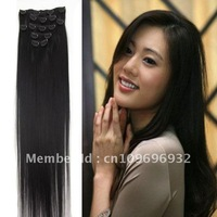 8pcs/set  100g  free shipping 22' clip in extensions 100% genuine human hair China unprocessed  factory wholse sell and retail