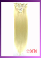"22""(55cm) straight clip in  hair extensions 130g 7pcs/set hot resistent synthetic, color #613 bleach blonde"
