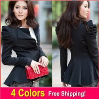 2014 fall ladies dovetail suit women jackets blazers winter one button blazer swallowtail jacket puff tuxedo S M L XL XXL XXXL