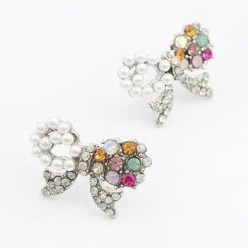 Fashion Jewelry,Elegant Simplicity Full drill Bow Pearl Drop  Earrings (Silver) E244