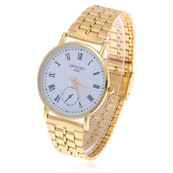2014 Rushed Fashion Trendy Roman Numerals Hour Marks Round Dial Steel Quartz Wrist Watch For Men,men Full Watch,men Wristwatches(China (Mainland))