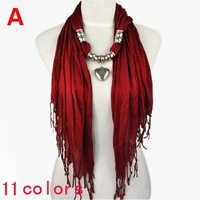 Jewelry heart bead scarves ,11 colors.fashion design scarf for women,NL-1802